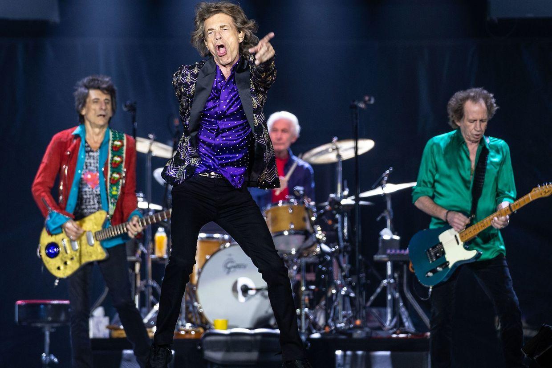 """Houston (USA). Mit """"No Filter"""" sind The Rolling Stones - Mitglieder Ronnie Wood, Mick Jagger, Charlie Watts und Keith Richards (v.l.n.r.) - wieder auf Tour."""