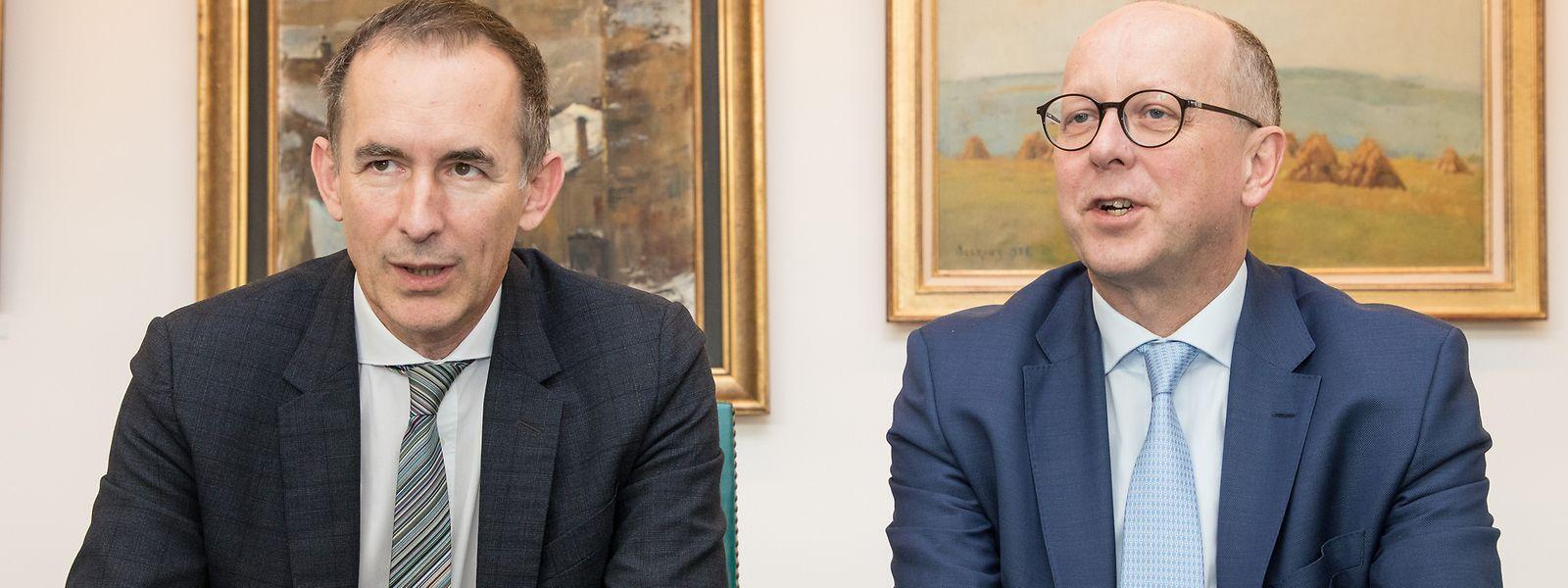 """Pit Hentgen (l.) und François Pauly: Ihre Großväter haben """"La Luxembourgeoise"""" vor hundert Jahren gegründet."""