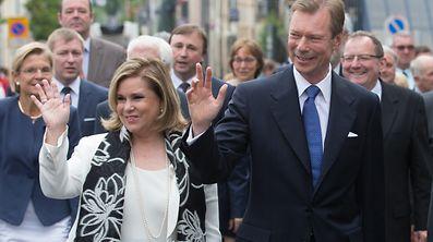Le Grand Duc Henri et la Grande Duchesse Maria Teresa en visite à Troisvierges.