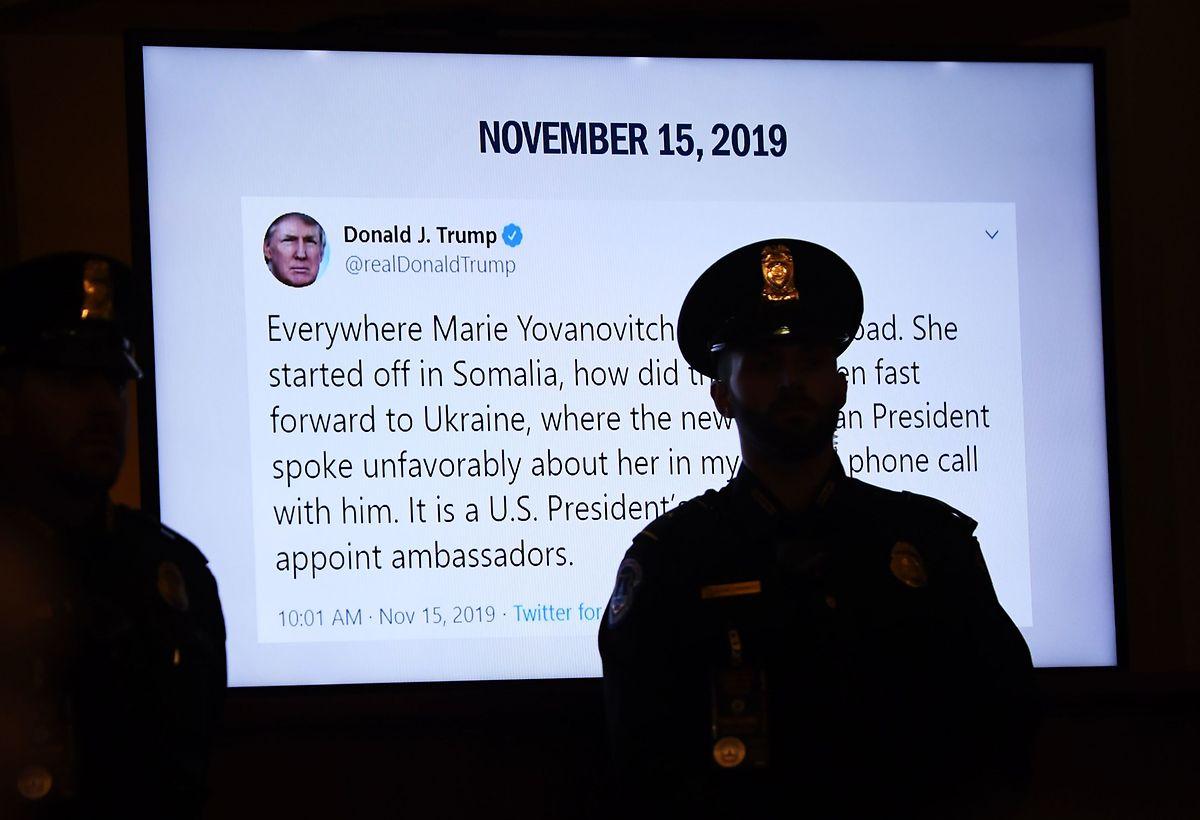 Trumps Tweet wurde während der Anhörung diskutiert.