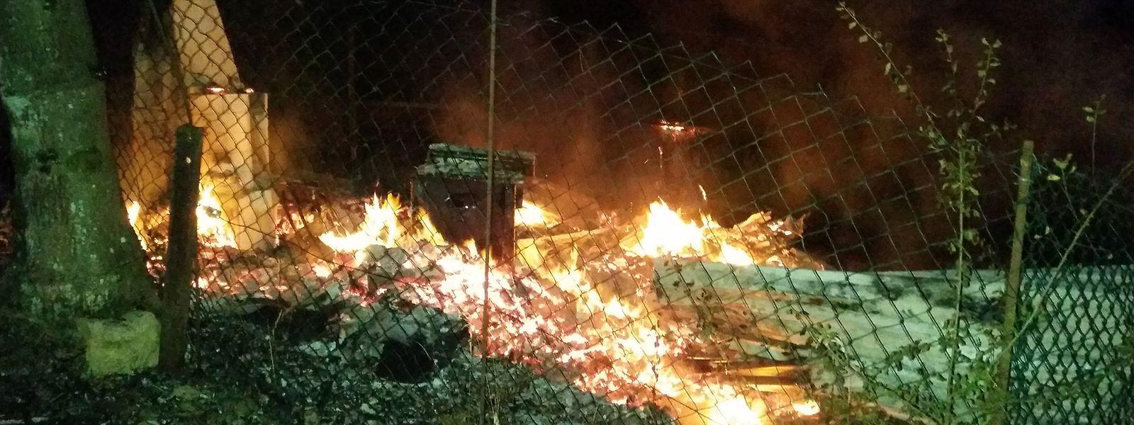 Der Schuppen brannte vollständig ab.