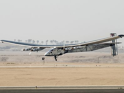 Solar Impulse 2, the solar powered plane, lands at Cairo International Airport on July 13, 2016, for the penultimate stage of its world tour. The experimental plane had completed the first solo transatlantic flight powered only by sunlight to land in Spain last month, and will continue from Cairo to Abu Dhabi, where it began its marathon journey in March last year.   / AFP PHOTO / KHALED DESOUKI