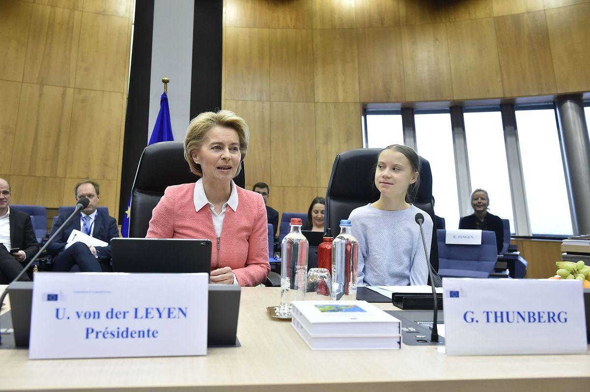 Greta Thunberg kam auf Einladung von Kommissionspräsidentin Ursula von der Leyen zur Präsentation des EU-Klimagesetzes.