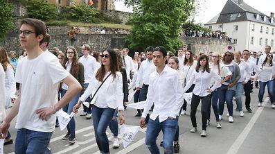 Participants dancing through the streets of Echternach