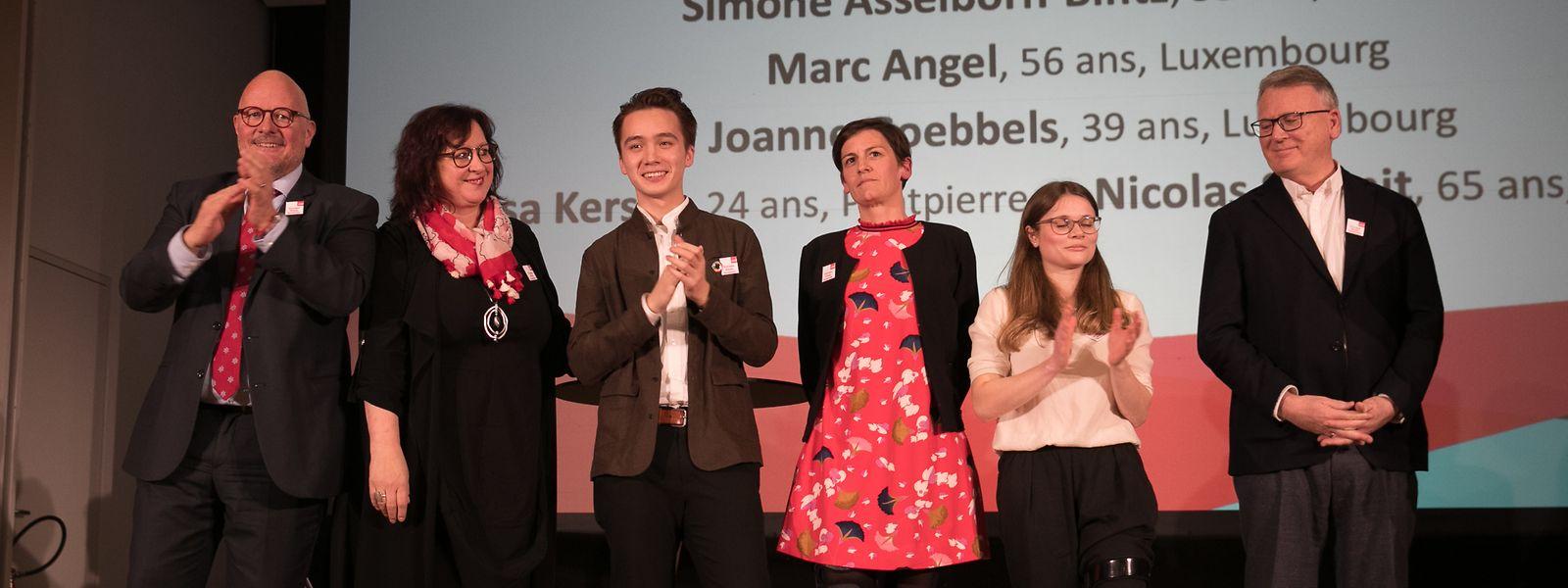 Die Kandidaten der LSAP für Europa: Marc Angel, Simone Asselborn-Bintz,  Elisha Winckel, Joanne Goebbels, Lisa Kersch und Nicolas Schmit.