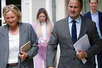 Politik, briefing Lenert/Bettel, Xavier Bettel, Paulette Lenert Foto: Luxemburger Wort/Anouk Antony