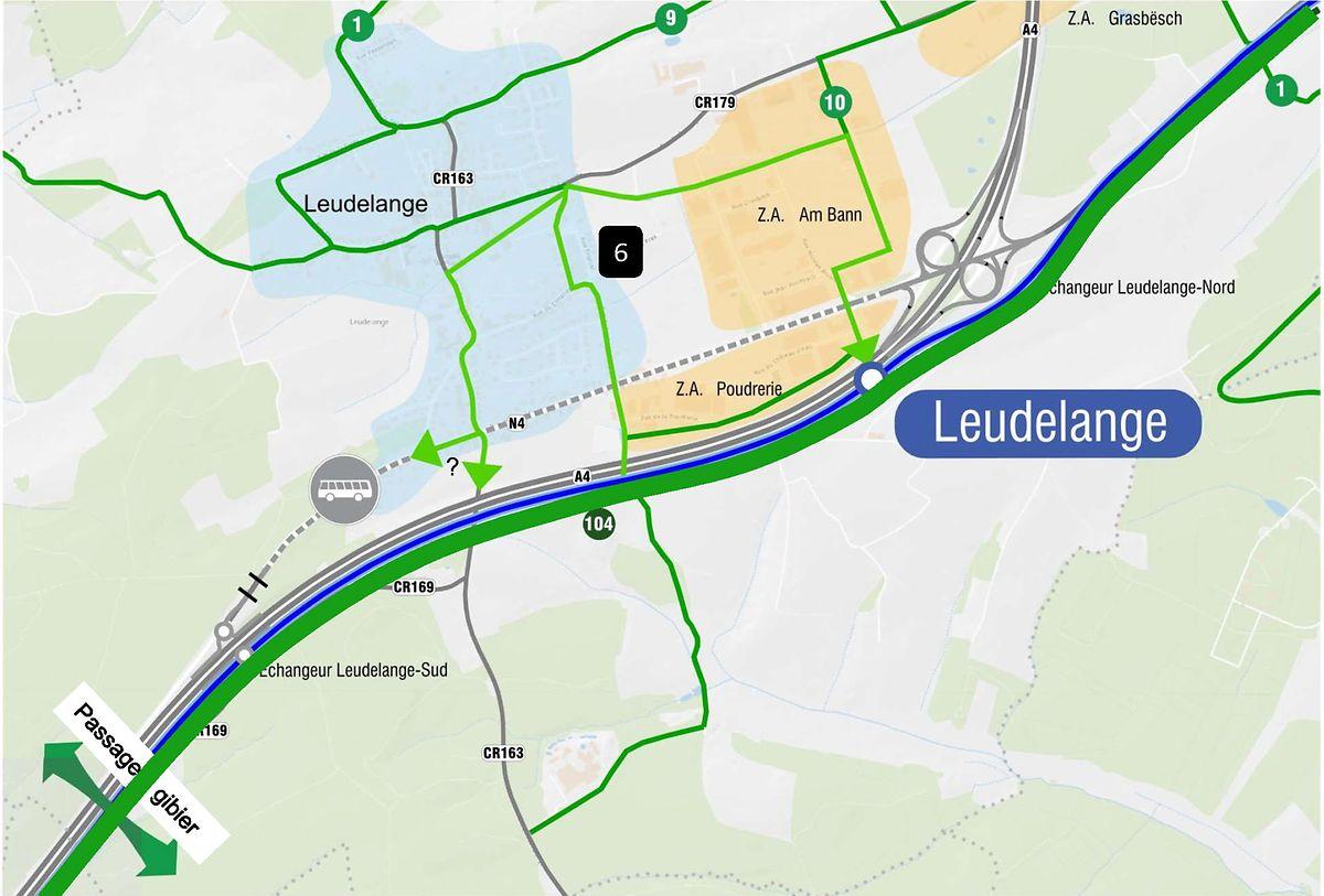 Der Verlauf der künftigen Radwege in und um Leudelingen.