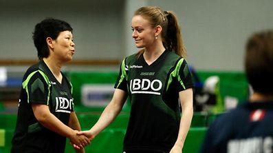Ni Xia Lian (l.) agierte bei den JPEE mit Sarah de Nutte im Doppel.
