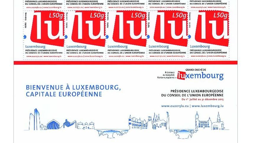 special edition stamp series, sporting the logo of the Presidency for the Council of the European Union and featuring the colours of the Luxembourg flag