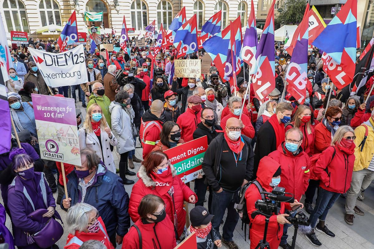 Protestors gather in Luxembourg City on Saturday Photo: Luc Deflorenne