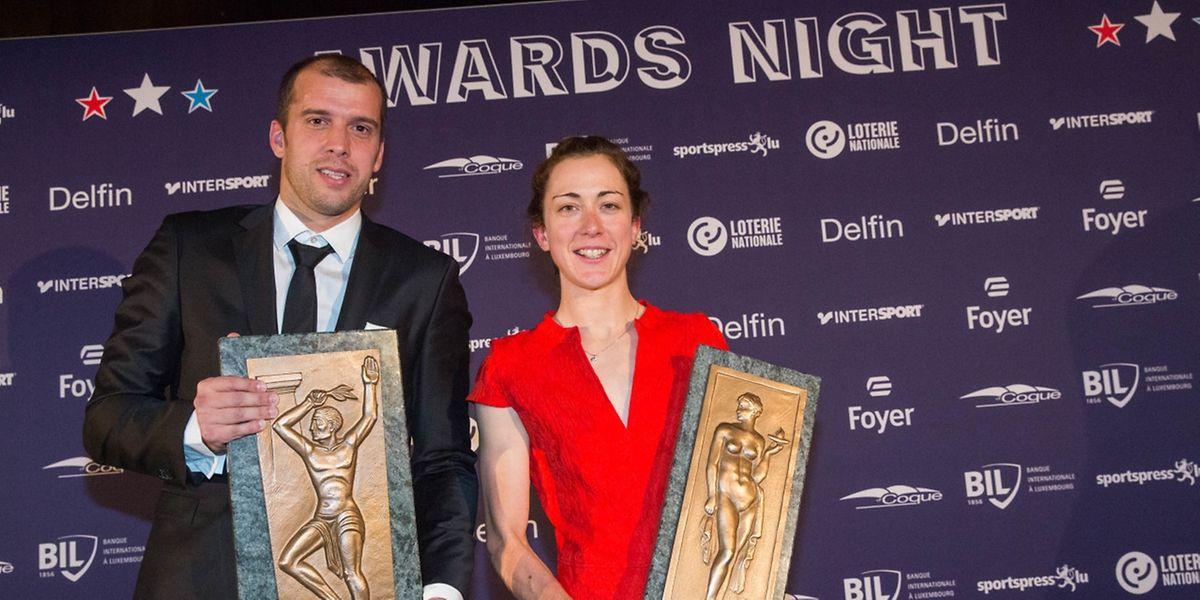 Gilles Muller (à g.) et Christine Majerus, Sportif et Sportive luxembourgeois de l'année 2016. Exactement comme en 2015...