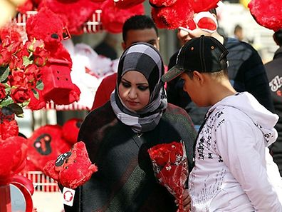 Valentine's Day celebrated in Syria where the colour red plays an important part of the day with flowers and gifts