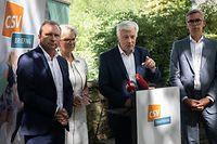 IPO,CSV-Ofschlossiessen-Bilan session parlementaire 2020/21.Gilles Roth,Martine Hansen,Claude Wiseler,Leon Gloden.Foto: Gerry Huberty/Luxemburger Wort
