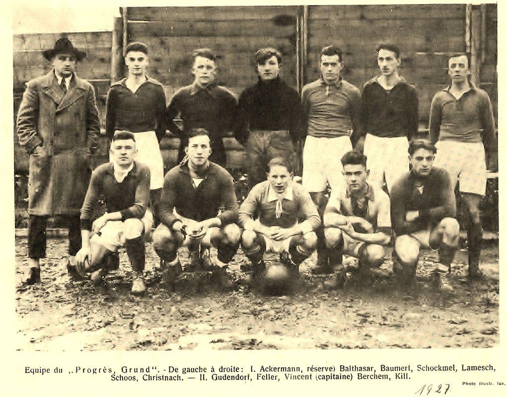 Die Mannschaft des Progrès Grund im Jahr 1927.