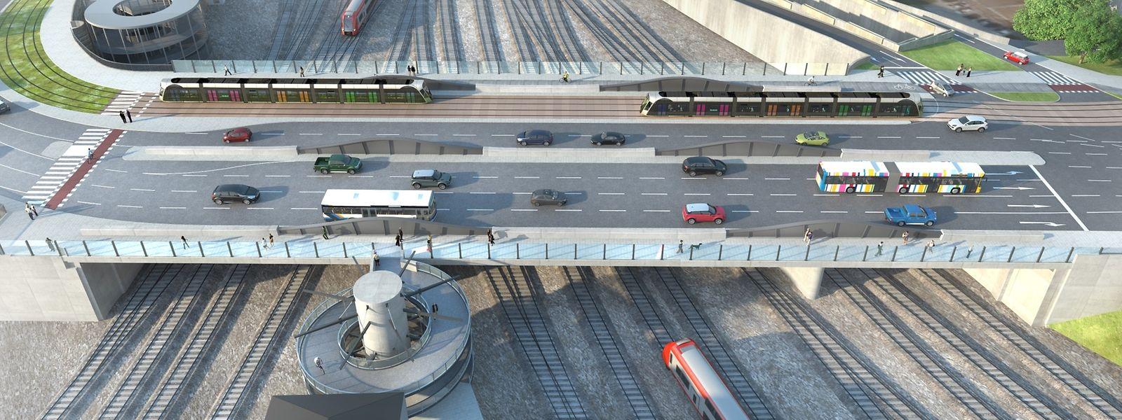 A terme, le pont fera 42 mètres de large et permettra ainsi la circulation conjointe du tram, des voitures, des cyclistes et des piétons.