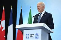 US President Joe Biden takes part in a press conference on the final day of the G7 summit at Cornwall Airport Newquay, near Newquay, Cornwall on June 13, 2021. (Photo by Brendan SMIALOWSKI / AFP)