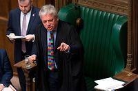 "A handout photograph released by the UK Parliament shows the speaker of the House of Commons, John Bercow gesturing at the weekly Prime Minister's Questions session in the House of Commons in London on January 23, 2019. - Isolated British Prime Minister Theresa May once again proved her stoicism by battling on in the face of humiliating defeat for her Brexit deal, but she is running out of allies in her epic political struggle. (Photo by Jessica TAYLOR / UK PARLIAMENT / AFP) / RESTRICTED TO EDITORIAL USE - NO USE FOR ENTERTAINMENT, SATIRICAL, ADVERTISING PURPOSES - MANDATORY CREDIT "" AFP PHOTO /JESSICA TAYLOR / UK Parliament"""