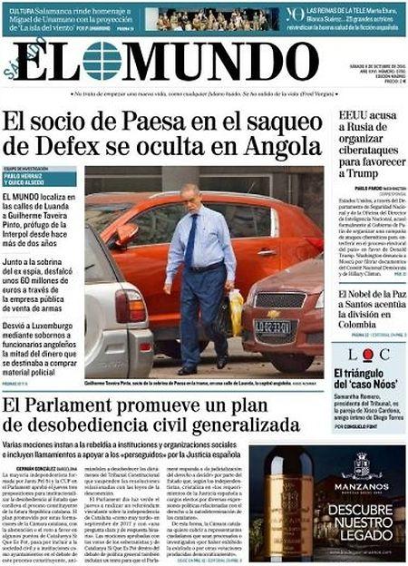 O empresário português Guilherme Taveira Pinto, foragido da Justiça espanhola, foi capa do jornal El Mundo.