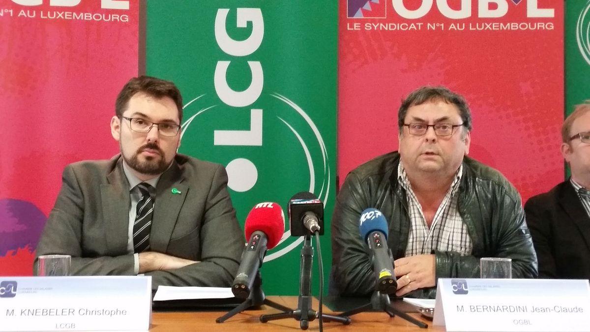 Christophe Knebeler, secrétaire général-adjoint du LCGB, et Jean-Claude Bernardini, membre du bureau exécutif de l'OGBL.