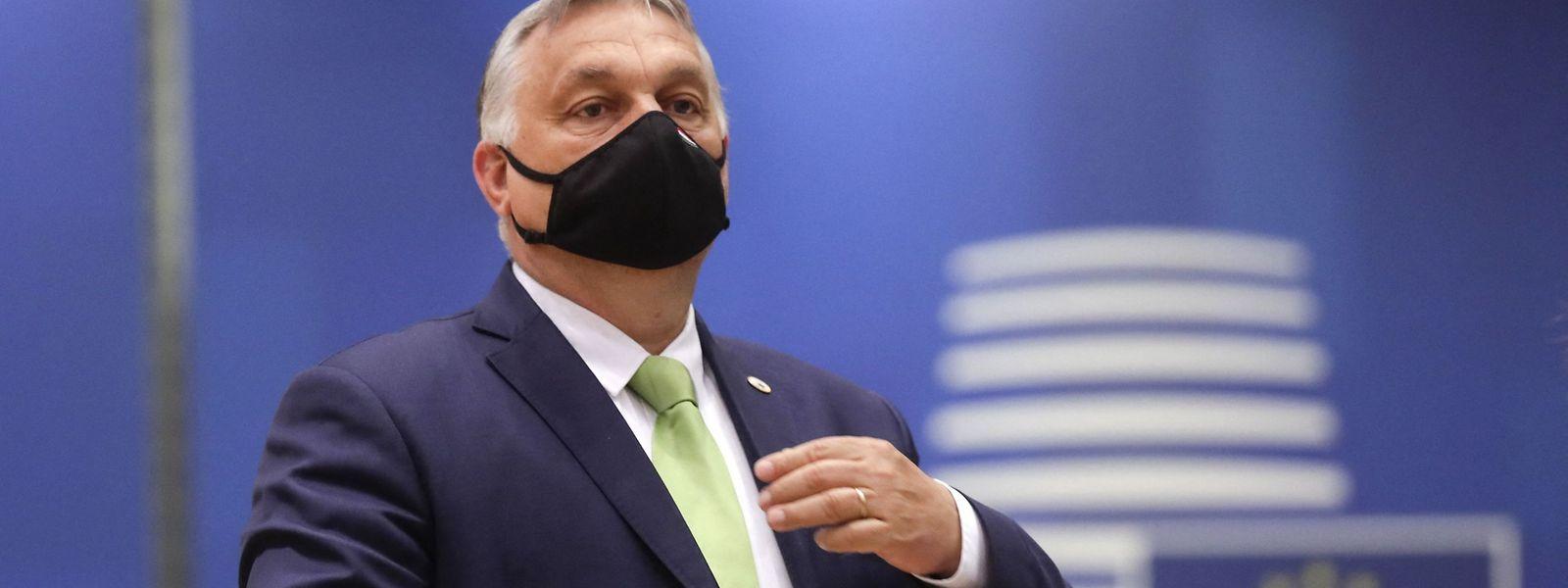 Der ungarische Premierminister Viktor Orban gefällt sich in der Rolle als Störenfried beim EU-Gipfel in Brüssel am 25.Juni.