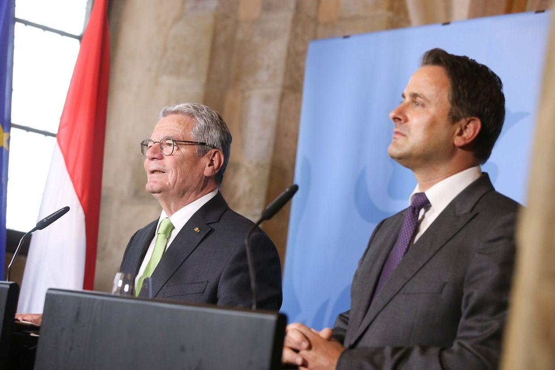 Im Schloss von Vianden gaben der deutsche Bundespräsident Joachim Gauck und Premierminister Xavier Bettel am Mittag eine gemeinsame Pressekonferenz.
