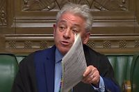 "A video grab from footage broadcast by the UK Parliament's Parliamentary Recording Unit (PRU) shows Speaker of The House of Commons John Bercow (R) as he makes a statement in the House of Commons in London on March 18, 2019, on the ability of the Government to hold another meaningful vote on the government's Brexit deal. - Britain's government scrambled Monday to convince Brexit hardliners to give in at last and back Prime Minister Theresa May's EU divorce deal, though several opponents were refusing to blink. (Photo by Niklas HALLE'N / PRU / AFP) / RESTRICTED TO EDITORIAL USE - MANDATORY CREDIT "" AFP PHOTO / PRU "" - NO USE FOR ENTERTAINMENT, SATIRICAL, MARKETING OR ADVERTISING CAMPAIGNS"
