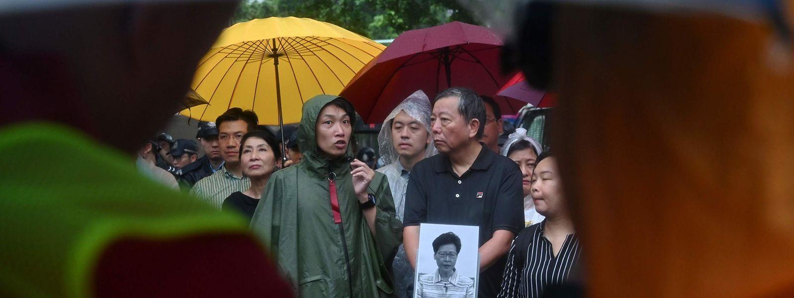 Proteste vor dem Regierungsgebäude in Hongkong am Donnerstag.
