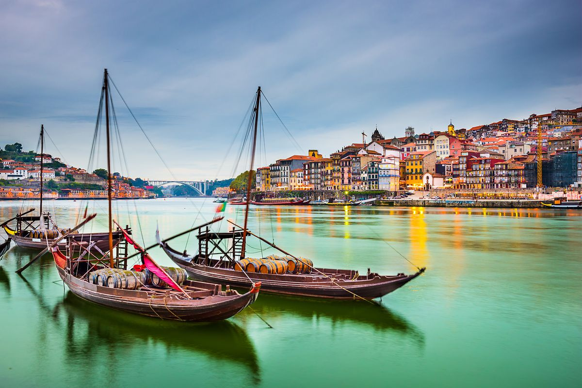 Traditional Rabelo boats with casks of port on the River Douro