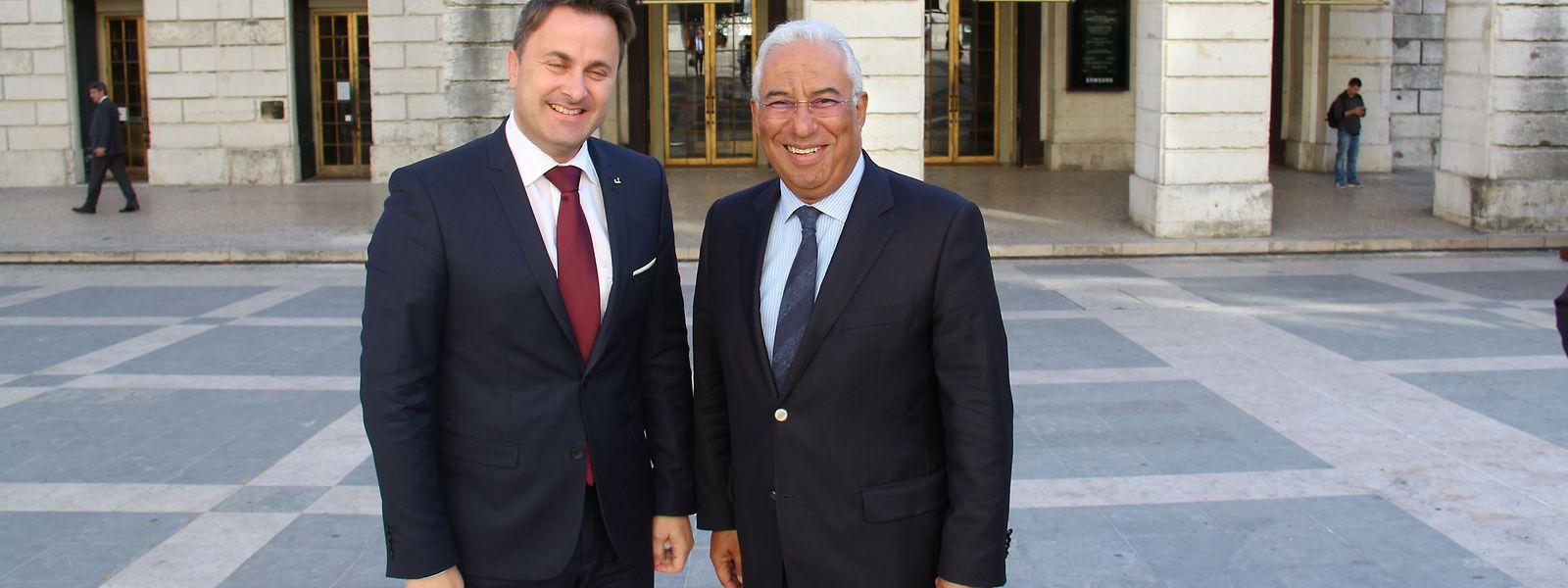 Xavier Bettel com António Costa, hoje em Lisboa.
