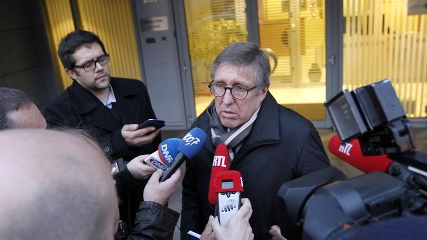 François Bausch speaking to journalists after a meeting of the parliamentary control commission