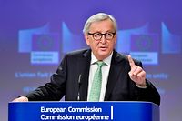 European Commission President Jean-Claude Juncker gestures as he speaks during a press conference at the European Commission headquarters in Brussels on May 7, 2019. (Photo by Eric Vidal / AFP)