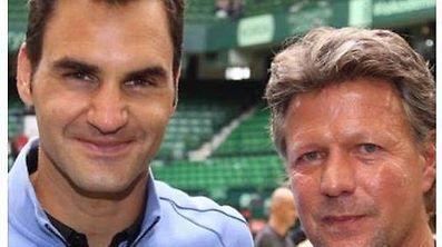 Jeff Saibene (r.) ist ein großer Fan von Roger Federer (l.).