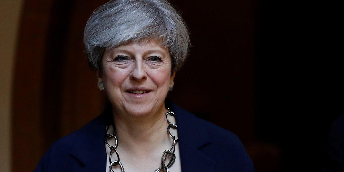 Theresa May vor ihrer Pressekonferenz am Sonntag.