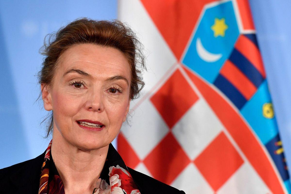 Kroatiens stellvertretende Premierministerin und Außenministerin Marija Pejcinovic Buric auf einer Pressekonferenz im März.