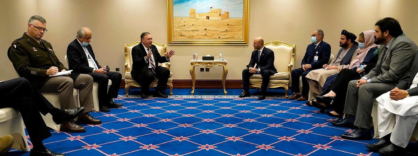US-Außenminister Mike Pompeo trifft sich mit Afghanistans Friedensminister Sayed Sadat Mansoor Naderi.