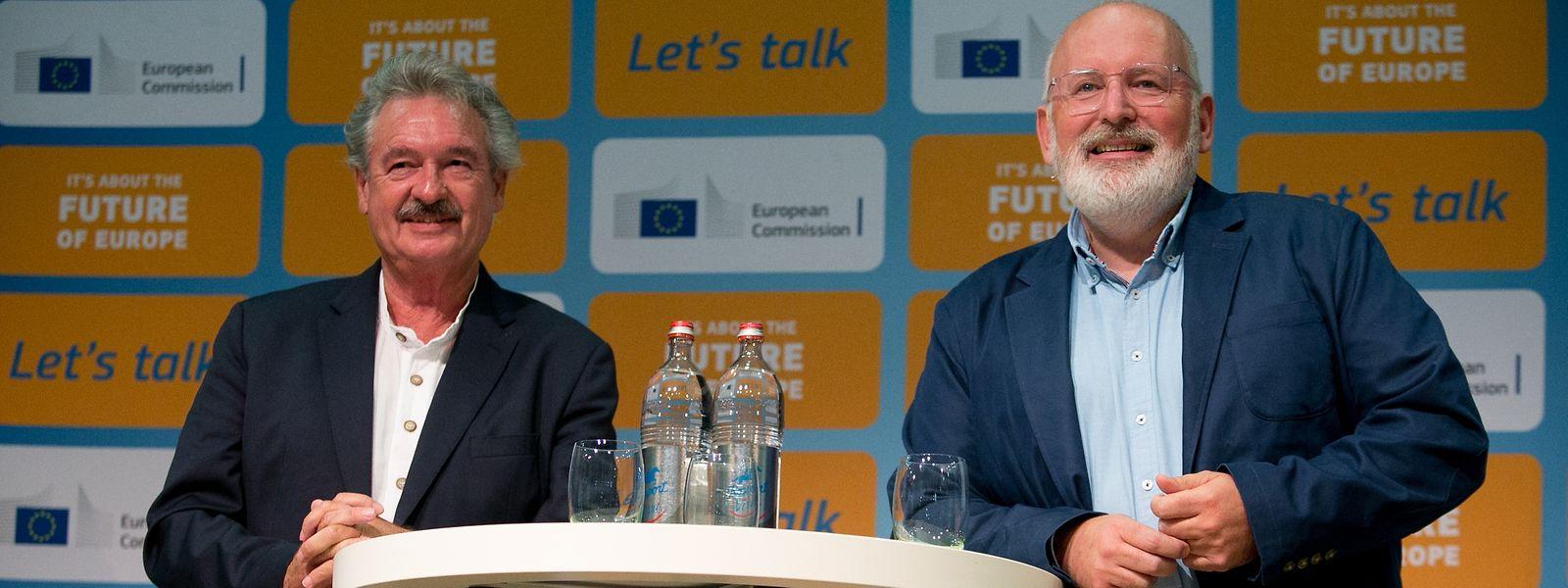 Jean Asselborn (à g.), ministre des Affaires étrangères et européennes et Frans Timmermans, premier vice-président de la Commission européenne.