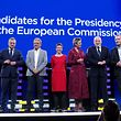 (From L) Candidates for the upcoming the European Commission president elections Czech Jan Zahradil of Alliance of Conservatives and Reformists in Europe (ACRE), Spanish Nico Cue of European Left (EL), German Ska Keller of the European Green Party (EGP) Danish Margrethe Vestager of the Alliance of Liberals and Democrats for Europe (ALDE), Dutch Frans Timmermans of the Party of European Socialists (PES) and German Manfred Weber of European People�s Party (EPP) pose ahead of the Eurovision presidential debate at the European Parliament in Brussels, Belgium, on May 15, 2019. (Photo by Aris Oikonomou / AFP)