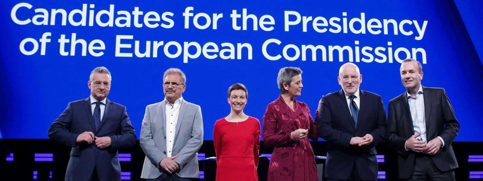 De gauche à droite: Jan Zahradil, Nico Cue, Ska Keller, Margrethe Vestager, Frans Timmermans et Manfred Weber