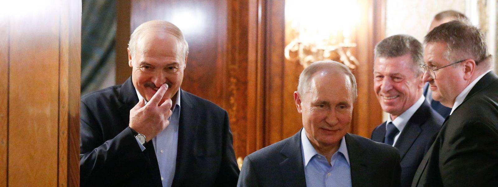 7. Februar 2020: Der russische Präsident Wladimir Putin empfängt seinen belarussischen Amtskollegen Alexander Lukaschenko.