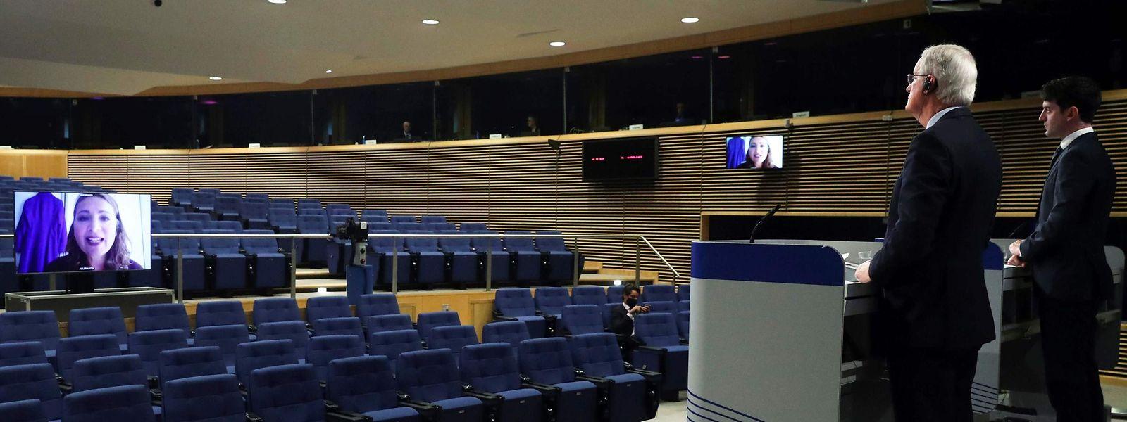 EU-Unterhändler Michel Barnier hält eine Pressekonferenz zu den Fortschritten bei dem EU-Handelspakt mit Großbritannien.