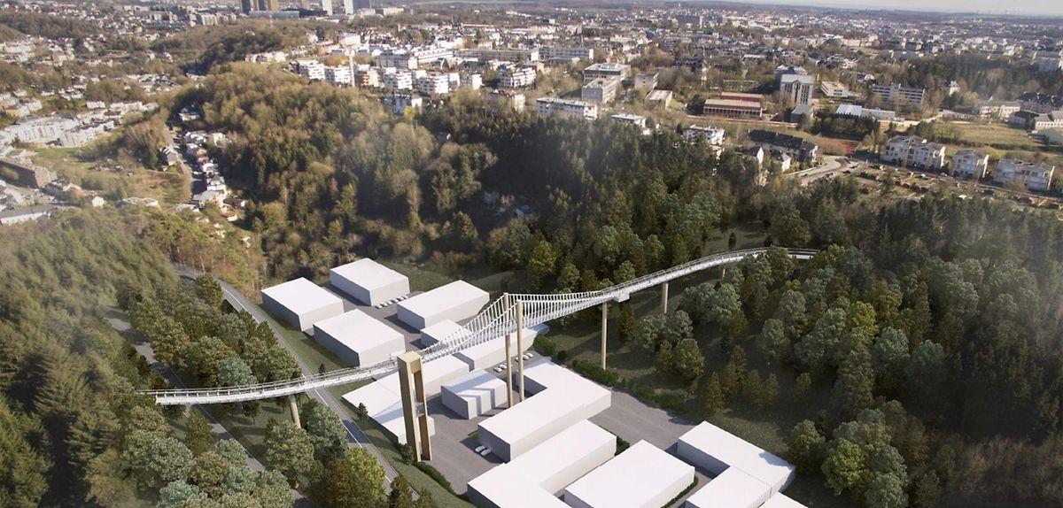 """Die vom """"Lampertsbierger Syndicat"""" vorgeschlagene Passerelle """"Westpist"""" wäre rund 350 Meter lang."""