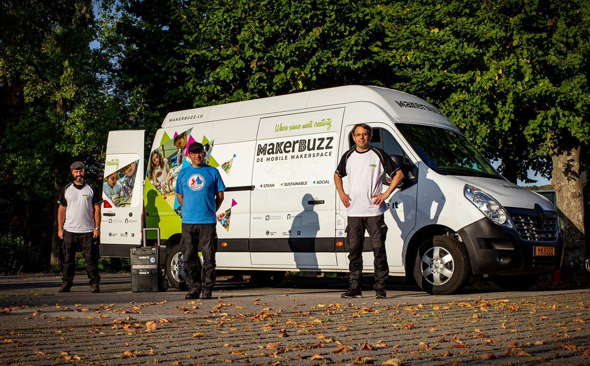 Der umgebaute Van dient als mobiler Kreativ-Showroom. Die eigentlichen Workshops werden mit mitgebrachtem Material in den zur Verfügung gestellten Räumlichkeiten abgehalten.