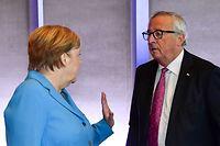 Die deutsche Bundeskanzlerin Angela Merkel und Jean-Claude Juncker, Präsident der Europäischen Kommission, während des informellen EU-Gipfels.