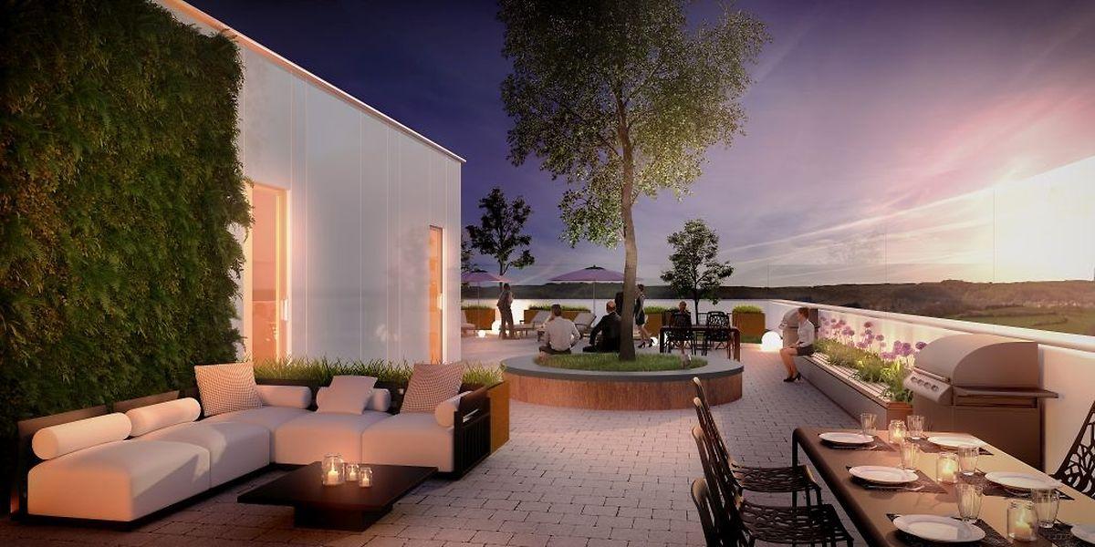 Das flache Dach wird als Gemeinschaftsfläche für die neuen Einwohner reserviert sein.