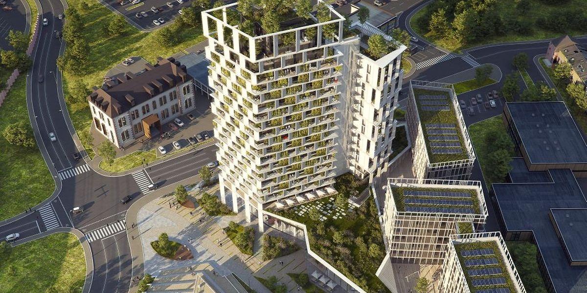 So soll das Hochhaus am Differdinger Stadteingang um 2021 aussehen.