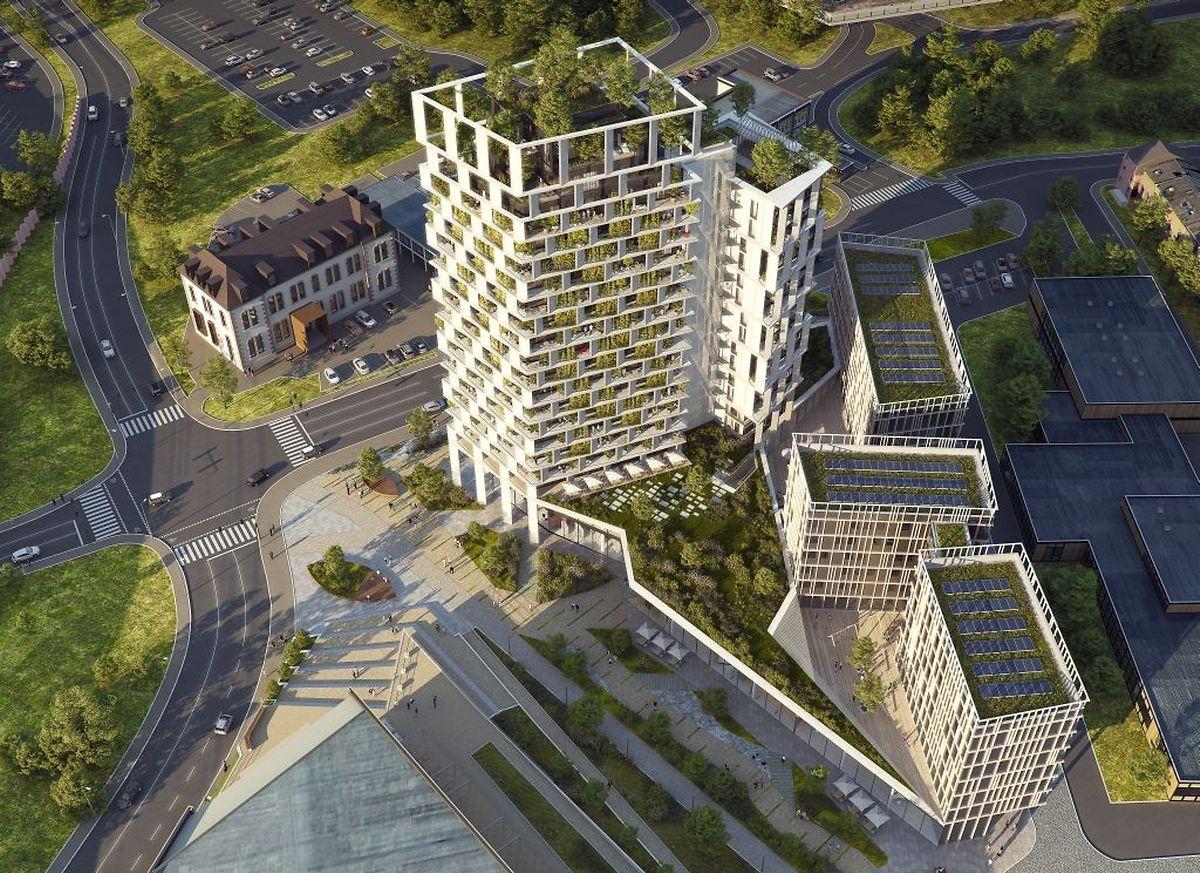 Das Hochhaus ist gegenüber der Villa Hadir geplant.