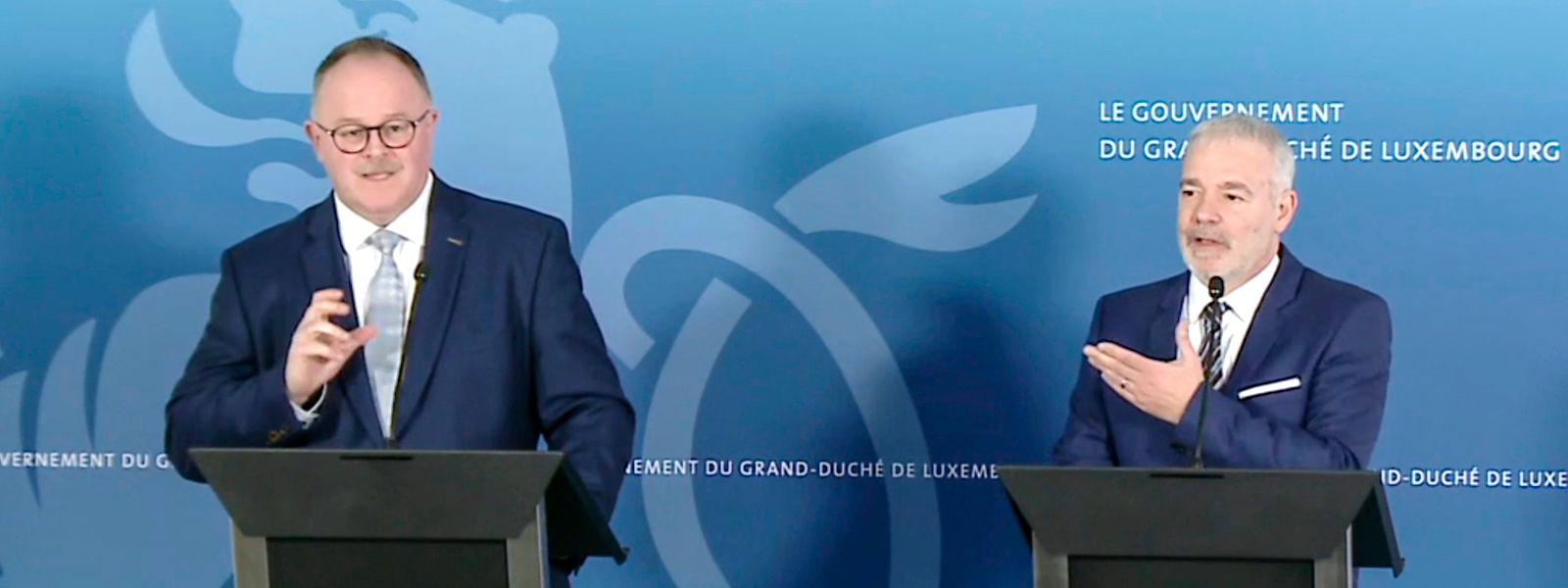 Die beiden für soziale Angelegenheiten zuständigen Minister Dan Kersch und Romain Schneider.
