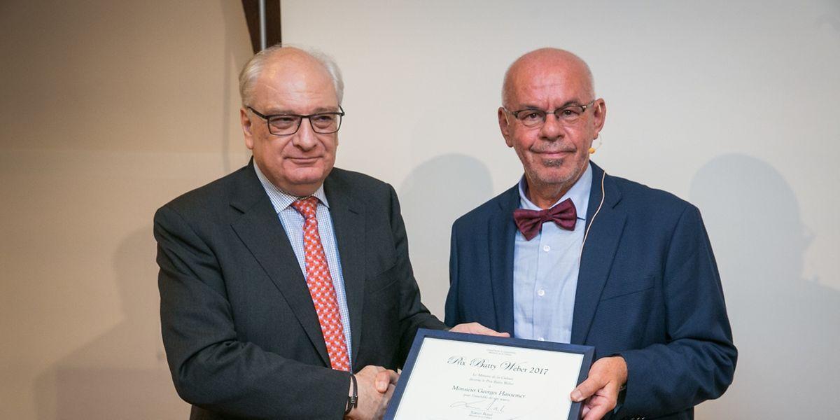 Hausemer erhielt den Preis von Staatssekretär Guy Arendt überreicht.