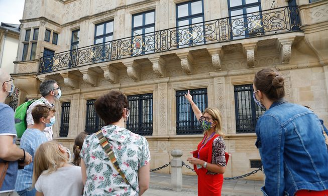 Tourists visiting Luxembourg city centre