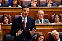 Candidate for re-election as prime minister for a second term, socialist Pedro Sanchez, speaks during the first day of the parliamentary investiture debate to vote through a prime minister, at the Spanish Congress (Las Cortes) on July 22, 2019, in Madrid. - Socialist leader Pedro Sanchez, who is currently Spain's caretaker premier after April's inconclusive general election, will today seek the backing of parliament to form a new government. (Photo by OSCAR DEL POZO / AFP)